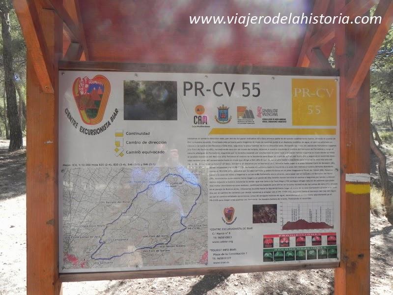 Fotografía del punto de incio del sendero PR-CV 55, Biar, Alicante