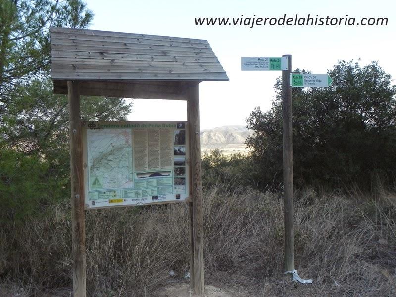 Fotografía del panel informativo en el que se inicia la ruta, Peña Rubia, Villena, Alicante