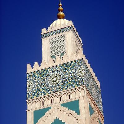 Fotografía exterior de la mezquita de Hassan II, Casablanca, Marruecos