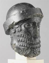 Imagen de cabeza de Hammurabi en diorita en el Museo del Louvre, París, Francia